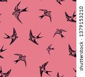 birds pattern  swallow pattern | Shutterstock .eps vector #1379153210