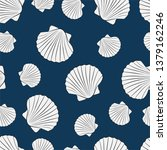seashells white fill on navy... | Shutterstock .eps vector #1379162246