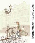 biking in the old town   people ... | Shutterstock . vector #137917028