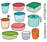 vector set of plastic container | Shutterstock .eps vector #1379183750