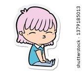 sticker of a cartoon woman | Shutterstock . vector #1379185013