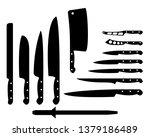 set of black kitchen knives on... | Shutterstock .eps vector #1379186489