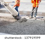 pouring cement during sidewalk... | Shutterstock . vector #137919599