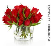Stock photo beautiful red roses in a vase isolated on white 137921036