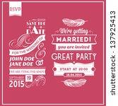 wedding stamps pink | Shutterstock . vector #137925413