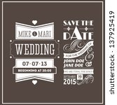 wedding stamps brown | Shutterstock .eps vector #137925419
