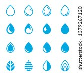 drop icons. set of blue droplet ... | Shutterstock .eps vector #1379267120
