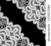 lace corner on black ... | Shutterstock . vector #137927084