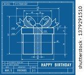 gift box as technical blueprint ... | Shutterstock .eps vector #1379291510