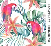 tropical seamless pattern with... | Shutterstock . vector #1379334089