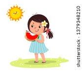 cute little girl feeling happy... | Shutterstock .eps vector #1379348210