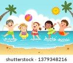 group of happy kids having fun...   Shutterstock .eps vector #1379348216