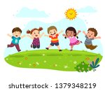 group of happy kids jumping on... | Shutterstock .eps vector #1379348219