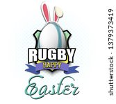 happy easter. decorated egg in...   Shutterstock .eps vector #1379373419