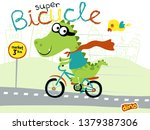 funny super hero cartoon dino... | Shutterstock .eps vector #1379387306