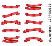 red ribbons set. vector design...   Shutterstock .eps vector #1379400836