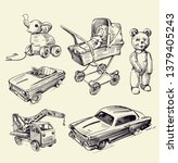 retro toys drawn by hands on a... | Shutterstock .eps vector #1379405243