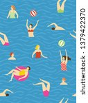 seamless pattern with swimmers  ... | Shutterstock .eps vector #1379422370