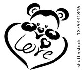 cute bear with a heart in its...   Shutterstock . vector #1379441846