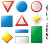 ten empty traffic signs  raster ... | Shutterstock . vector #137944358