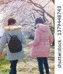asian twins girls walk in the... | Shutterstock . vector #1379448743
