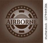 airborne realistic wooden emblem   Shutterstock .eps vector #1379449286