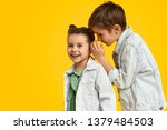 stylish youngster whispering... | Shutterstock . vector #1379484503