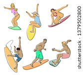 set of surfing. silhouettes of... | Shutterstock .eps vector #1379502800