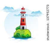 lighthouse  rock  shore  tree.... | Shutterstock . vector #137952773