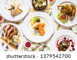 top view of food assortment.... | Shutterstock . vector #1379542700