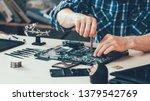 computer repair shop. engineer... | Shutterstock . vector #1379542769