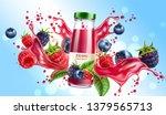 realistic forest berries juice... | Shutterstock .eps vector #1379565713