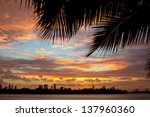 Colorful Sunset With Palm Tree...