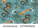 pattern of dragon  octopus and... | Shutterstock .eps vector #1379604626