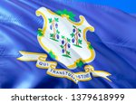 connecticut state flag. 3d... | Shutterstock . vector #1379618999