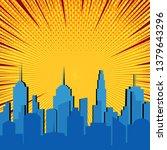 comic blue cityscape explosive... | Shutterstock .eps vector #1379643296