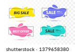 Stock vector set of sale banners with trendy shapes vector discount banners 1379658380