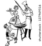 family barbecue   retro clip... | Shutterstock .eps vector #137969516