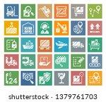 shipping  flat badges  pencil... | Shutterstock .eps vector #1379761703