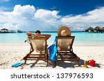 couple on a tropical beach at... | Shutterstock . vector #137976593