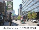 Small photo of ULEZ, London, UK - April 8 2019: ULEZ (Ultra low emission zone) charge congestion charge & Ultra Low Emission Zone (ULEZ) warning sign central London 12.50 - stock, photo, photograph, image, picture