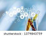 oil test analysis beaker bio...   Shutterstock . vector #1379843759
