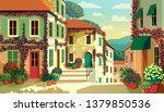 village square with traditional ... | Shutterstock .eps vector #1379850536