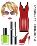 fashion set from a female ... | Shutterstock . vector #137985308