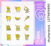 dental icon set with lineal...