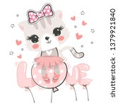 Stock vector cute cat ballerina wearing pink bow sitting on love balloon isolated on white background 1379921840