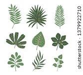 set of tropical leaves. hand... | Shutterstock .eps vector #1379922710