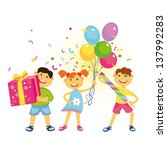merry friends with balloons ... | Shutterstock .eps vector #137992283