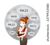 mom and baby wearing air... | Shutterstock .eps vector #1379923580