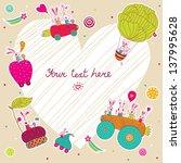 cheerful rabbits. baby vector... | Shutterstock .eps vector #137995628